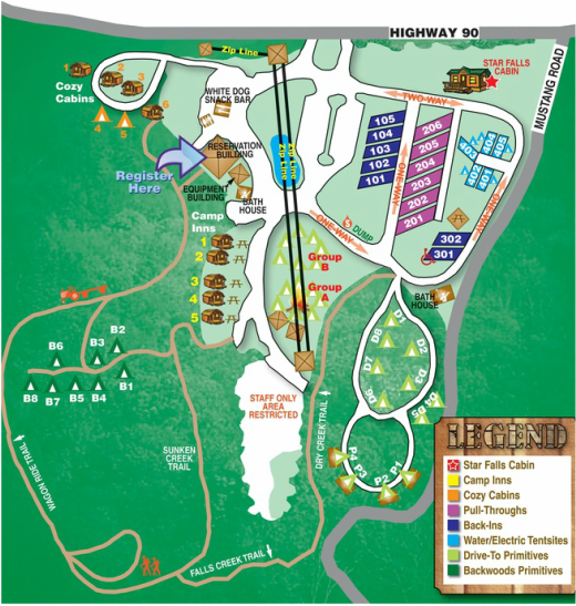 Site Map Falls Creek Cabins And Campground