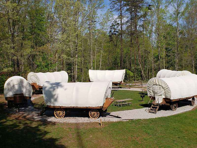 Covered Wagons at at Falls Creek Cabins and Campground